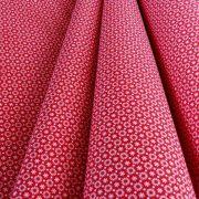 ASTER, apró, sűrű virágos pamutvászon, piros