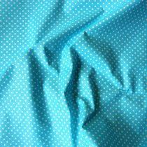 Türkizkék apró pöttyös pamut vászon