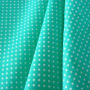 Biscay green, tengerzöld apró pöttyös pamut vászon
