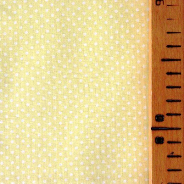 Pasztell sárga apró pöttyös pamut vászon