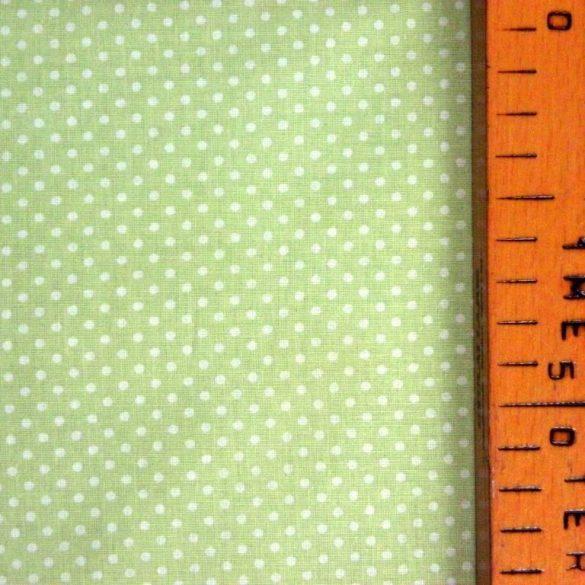 Pasztell zöld apró pöttyös pamut vászon