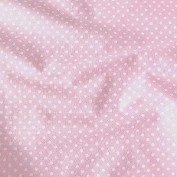 Pasztell rózsaszín apró pöttyös pamut vászon