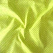 Sárgás zöld, zsengezöld apró pöttyös pamut vászon