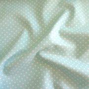 Vízkék, aqua apró pöttyös pamut vászon