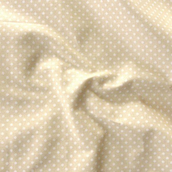 Világos drapp apró pöttyös pamut vászon