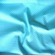 Világos türkizkék apró pöttyös pamut vászon