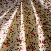 LENVIRÁG, virágmintás pamut vászon - krém-bordó