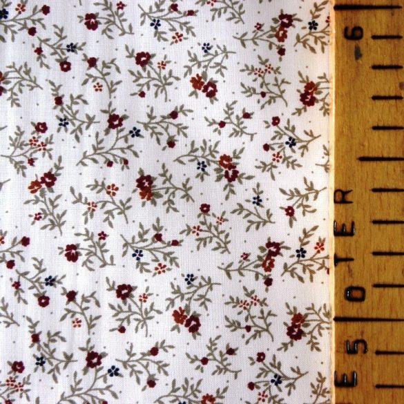 BERTA, apró bordó virágos, leveles mintás pamut vászon