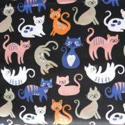 CIRMI, cica mintás pamutvászon - fekete-kék