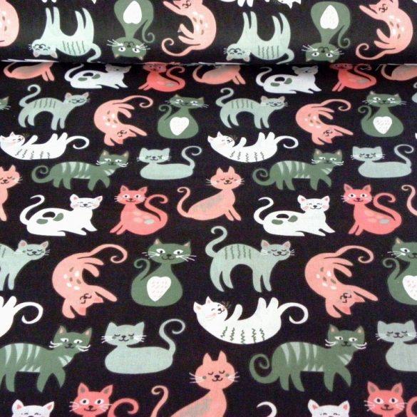CIRMI, cica mintás pamutvászon - fekete-zöld