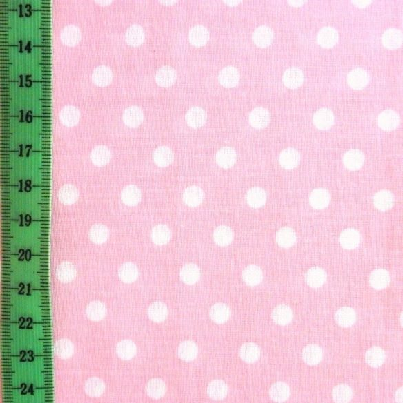 Rózsaszín pöttyös pamut vászon