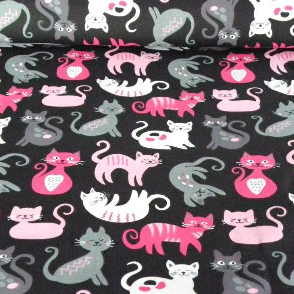 CIRMI, cica mintás pamutvászon - fekete-pink
