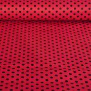 Piros, fekete pöttyös pamut vászon