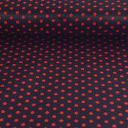 Fekete, piros pöttyös pamut vászon