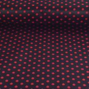 Fekete, piros pöttyös pamutvászon