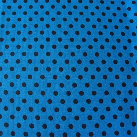 Mosaic blue, középkék, fekete pöttyös pamutvászon