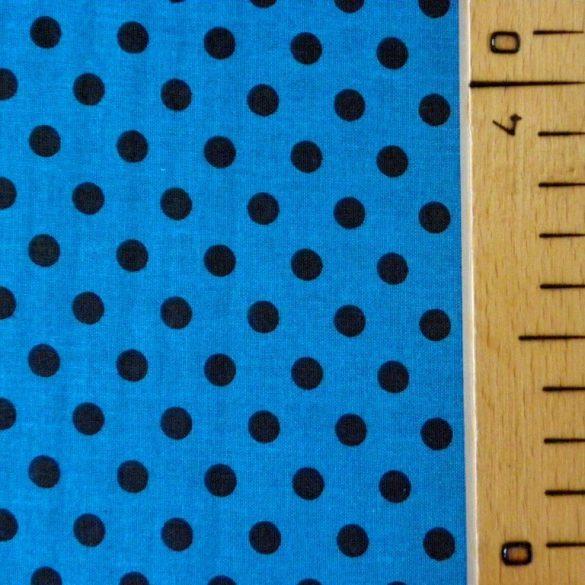 Mosaic blue, középkék, fekete pöttyös pamut vászon