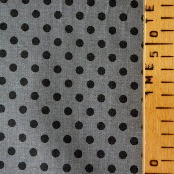Szürke, fekete pöttyös pamut vászon