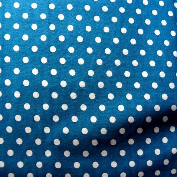 Mosaic blue, középkék, pöttyös pamutvászon