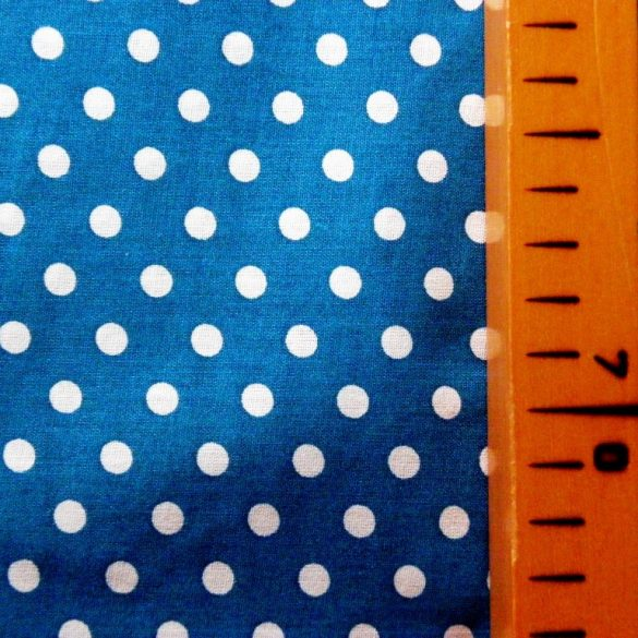 Mosaic blue, középkék, pöttyös pamut vászon