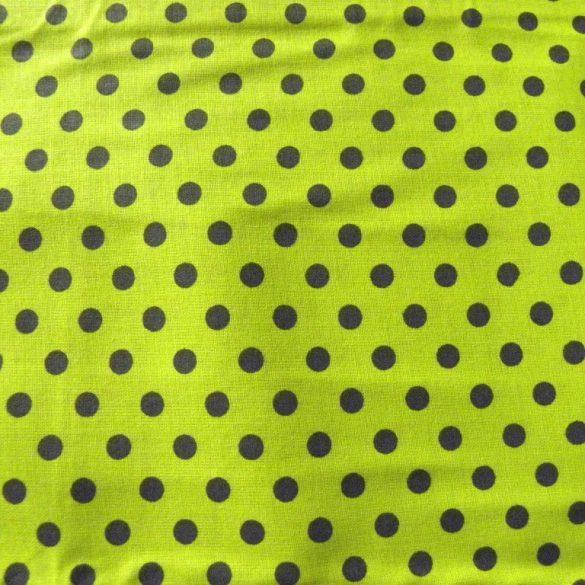 Kiwizöld, fekete pöttyös pamutvászon