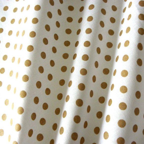 Fehér, drapp pöttyös pamut vászon