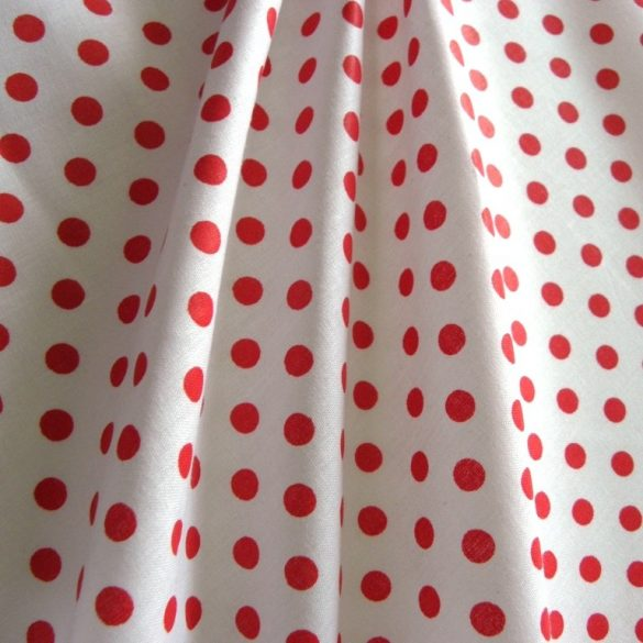 Fehér, piros pöttyös pamut vászon