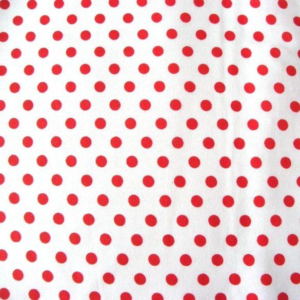 Fehér, piros pöttyös pamutvászon