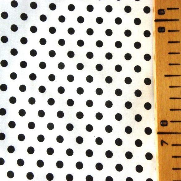 Fehér, fekete pöttyös pamutvászon