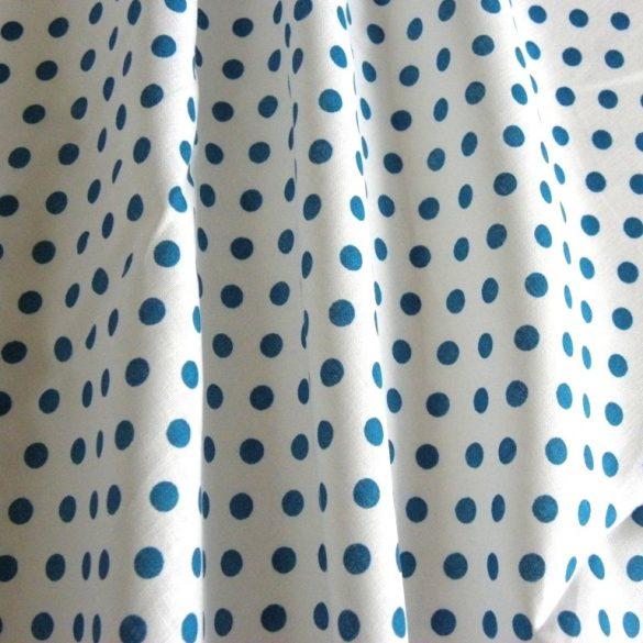 Fehér, mosaic blue, középkék pöttyös pamutvászon