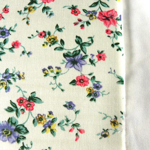 LENVIRÁG, virágmintás pamut vászon - törtfehér-kék-rózsaszín