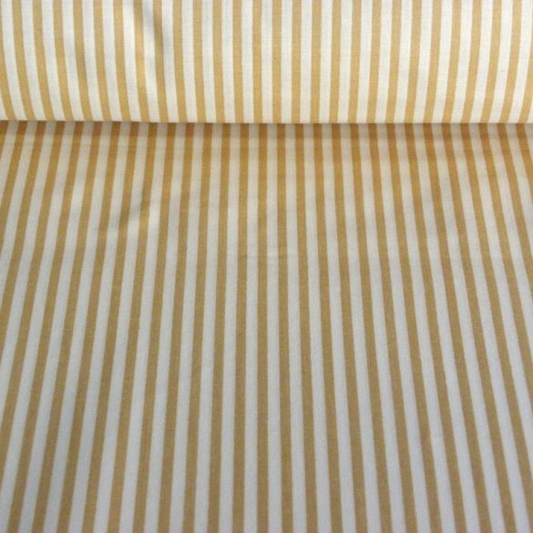 STRIPE, csíkos pamut vászon méteráru, világosdrapp