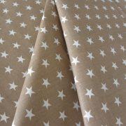Star, fehér csillag mintás drapp pamut vászon