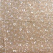 Kékfestő mintás, leveles-virágos drapp pamut vászon
