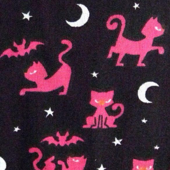 BOSZICICA, cicás, denevéres fekete-pink pamutvászon