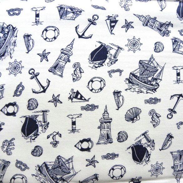 NAVIGARE, hajós mintás pamut vászon - fehér