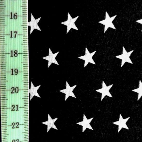Star, fehér csillag mintás fekete pamut vászon