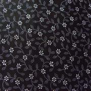 Kékfestő leveles, virágos fekete pamut vászon