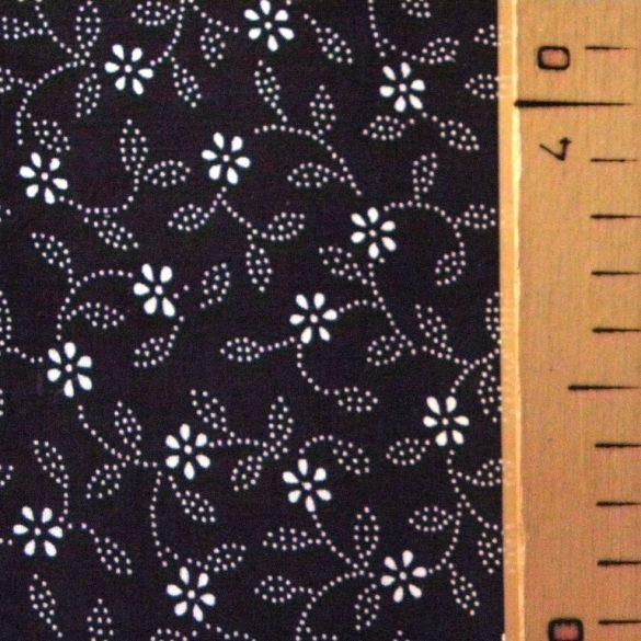ILONKA, kékfestő mintás, leveles-virágos fekete pamutvászon