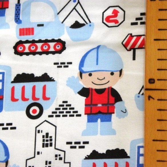 BOB the builder, Bob az építő mintás, pamut vászon méteráru, feher