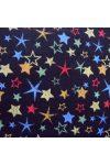 COLORSTAR, fekete, színes csillag mintás pamutvászon