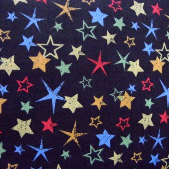 Fekete, színes csillag mintás pamutvászon