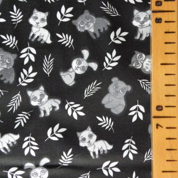 CUKI, apró állatok mintás pamutvászon - fekete-fehér