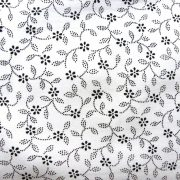 ILONKA, fehér alapon, fekete kékfestő mintás, leveles-virágos pamutvászon