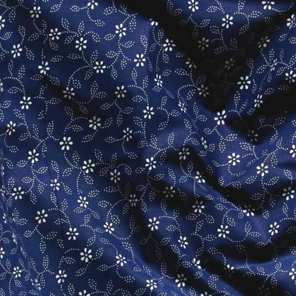 Kékfestő mintás, leveles-virágos kék pamut vászon