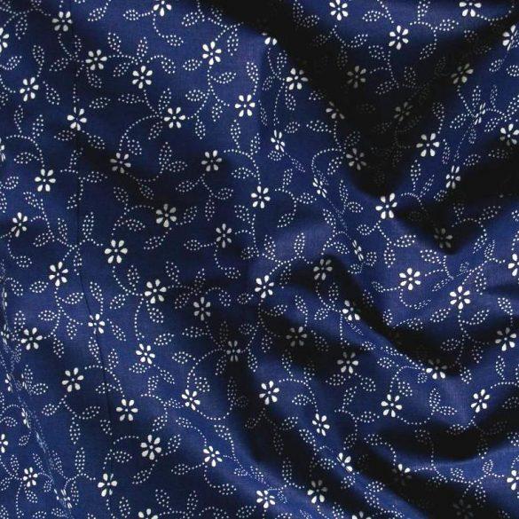 Kékfestő leveles, virágos kék pamut vászon