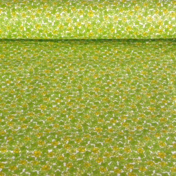 BARACKVIRÁG, apró virágmintás pamutvászon méteráru, kiwi