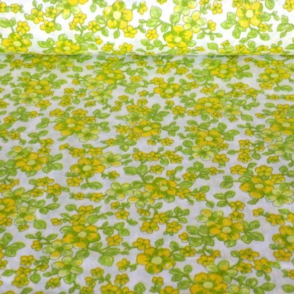 BARACKVIRÁG,  virágmintás pamutvászon méteráru, kiwi