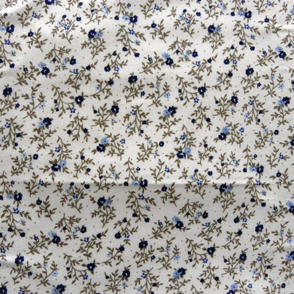 BERTA, apró kék virágos, leveles mintás pamut vászon