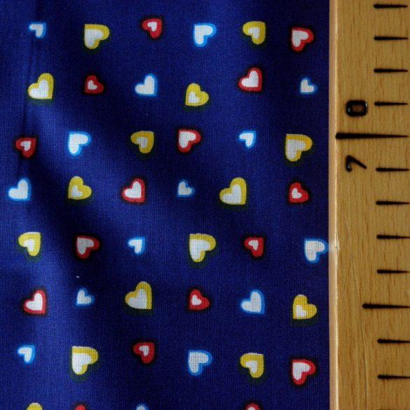 SZIVI, színes szívecske mintás pamutvászon méteráru, kék